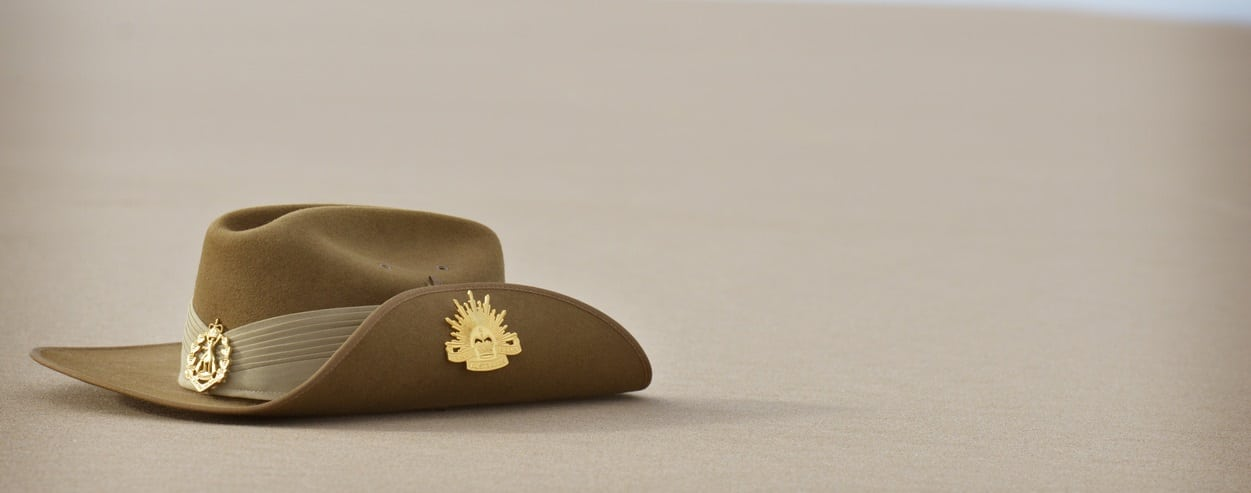 Anzac Day slouch hat on beach