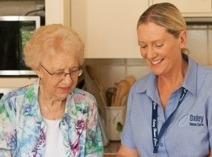 Carer and client in the kitchen