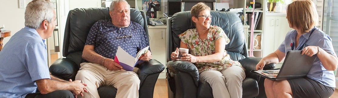 Carer and client discuss their care options
