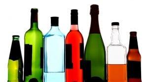 Bottles of alcohol backlit