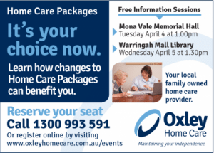 Oxley Home Care Home Care Package Manly Daily Ad
