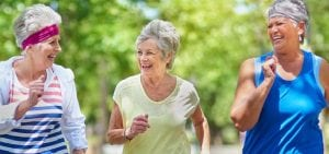 Aged Care, Mature ladies running outside