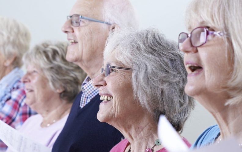 Living with Dementia, Mature people singing, Oxley Home Care
