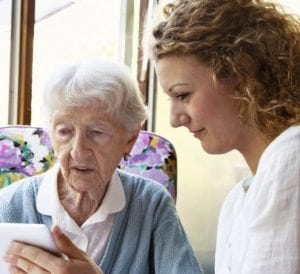 Support for people with dementia, iPad, Oxley Home Care