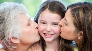Home Care, Celebrating Mother's Day - elderly mother, mother and grand-daughter