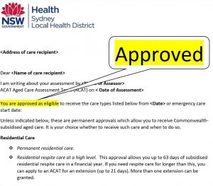 Letter of Approval from My Aged Care, Oxley Home Care