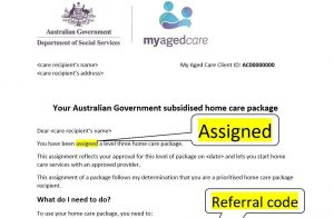 Letter of Assignment, My Aged Care, Oxley Home Care
