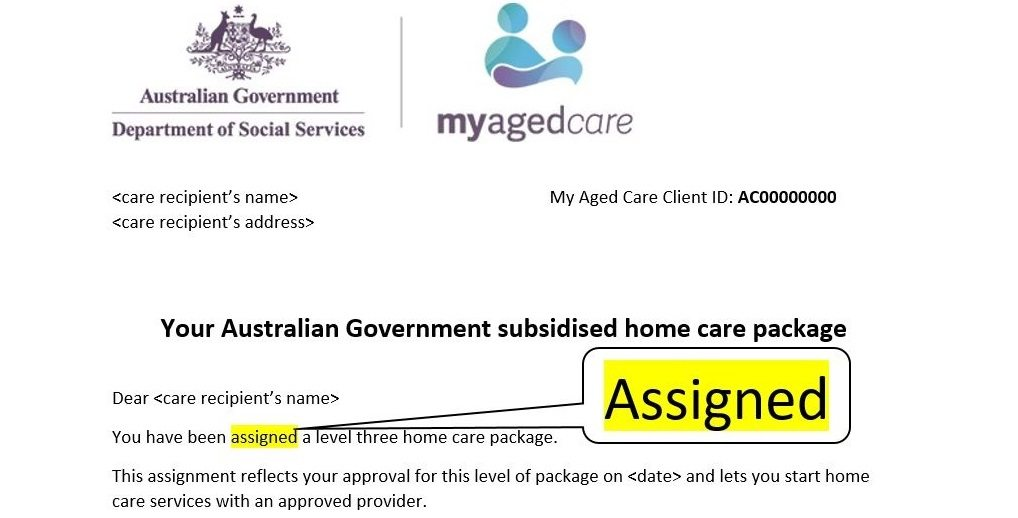 Letter of Assignment from My Aged Care, Oxley Home Care