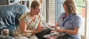 Case Manager and client reading Home Care Consumer Readiness Letter